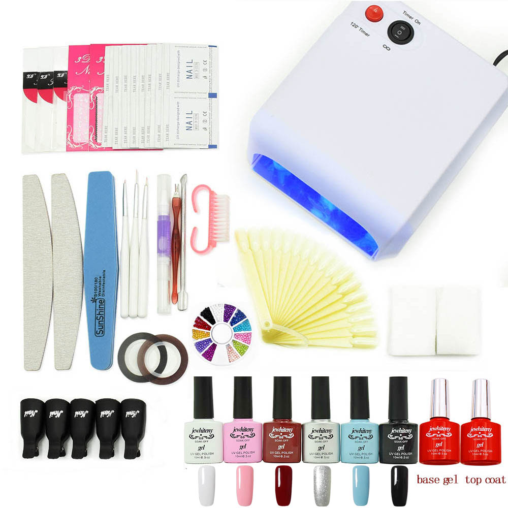 Nail art Set 24W/36W/48W UV LED Lamp dryer 6 Color UV Gel polish varnishes base gel top coat manicure tools file tips nail kits em 128 free shipping uv gel nail polish set nail tools professional set uv gel color with uv led lamp set nail art tools
