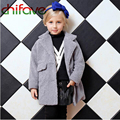 chifave 2016 Autumn Winter Children Clothing Turn-down Collar Warm Kids Girls Faux Wool Coat Fashion Baby Solid Color Outerwear