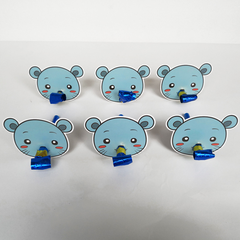 6 Pcs/lot Cute Colorful Cartoon Animals Whistles Children Birthday Party Blowing Dragon Blowout Baby For Birthday Party