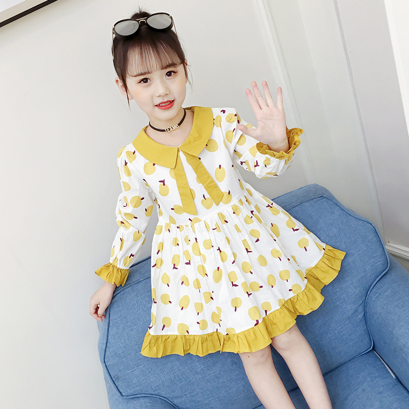 4 <font><b>5</b></font> 6 8 9 10 12 Years New Little Girls Spring Bohemian Long Sleeve Fruits Print A-Line Pleated Pincess Dress For Girls Dresses image