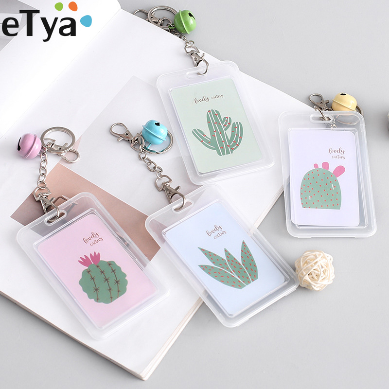 ETya Men Women Bank Credit Card Holder Case Pouch Bag Card Cover Fashion Hight Quality Cute Cactus Kids Key Bus Card Wallet Gift