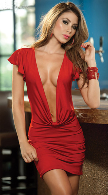 7b3240cb352 Free Shipping Sexy Lingerie Lady Women s Dark V Neck Low Cut Pleated  Package Hip Mini Dress