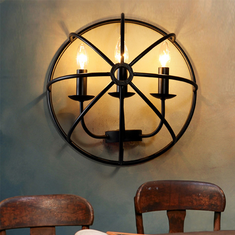 купить Industrial Style American Bedside Wall lights With E14 Led Candle Bulbs Creative Turtle Shell Wall Lamp for Corridor Cafe Bars онлайн