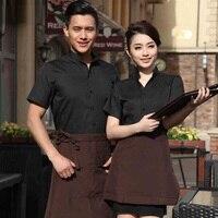 (10 set Shirt&Apron)five star hotel work wear restaurant working clothes bar Waiters / Waitress uniforms by