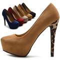 Marrón 5 Colores Vestido de Las Mujeres Los Zapatos Atractivos Del Alto Talón Lepoard Señoras Zapatos de Tacón de aguja de Punta Redonda 2016 Zapatos Mujer Plus tamaño