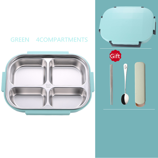 Green 4compartment Cheap bento boxes 5c6479e2edeb1