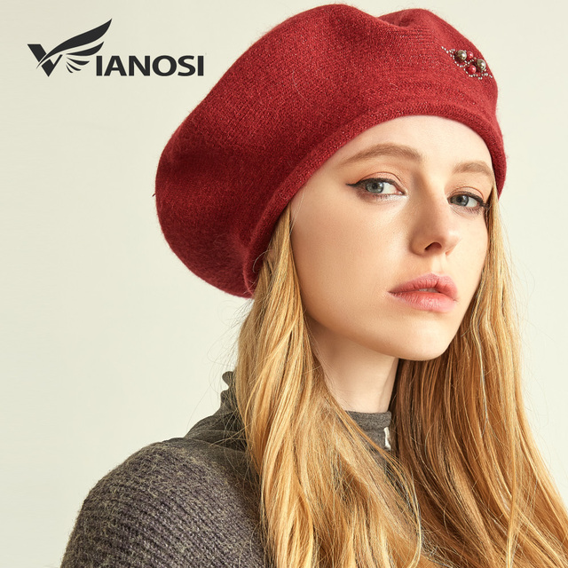 VIANOSI Winter Beret Hats for Women Wool Knitted Warm Luxury Pearl Berets Female  Fashion Beanie Caps 3fd5885c084