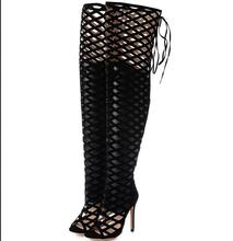 2016 New Sexy Roman Flock High Heels Sandals Over The Knee Fetish Lady's Med Stiletto Boots Hollow Gladiator Shoes Free Shipping