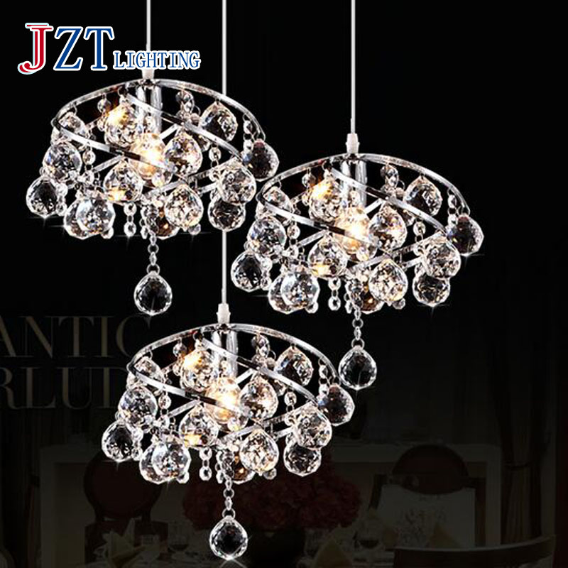T Luxury Crystal Simple LED Pendant Light E14 LED Bulb Modern Creative Lamp For Bar Restaurant 3 Heads Iron 9W Dhl Free free shipping european style modern luxury brief crystal candle pendant lamp with 3 heads 5 heads