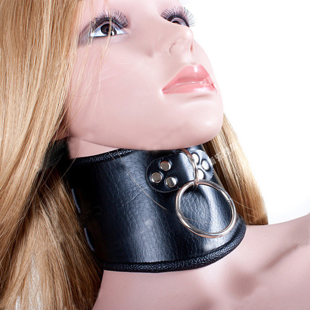 Sexy Big O Ring Neck Collar Restraint Belt BDSM Slave Bondage Fetish Cosplay Adult Games Leather Necklace Collars For Woman