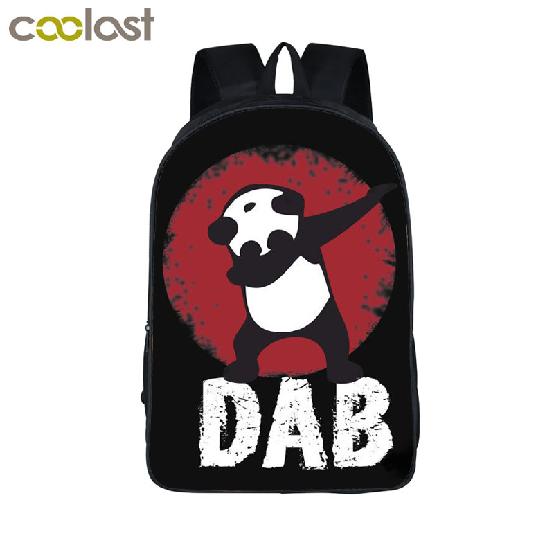 Funny Cartoon Dabbing Panda Cat Backpack For Teens Boys Kids Book Bag Children School Bags Men Women Hip Hop Backpack Book Bag twenty one pilots backpack for teenage boys girls student school bags children daily bag hip hop backpack with pencil bag