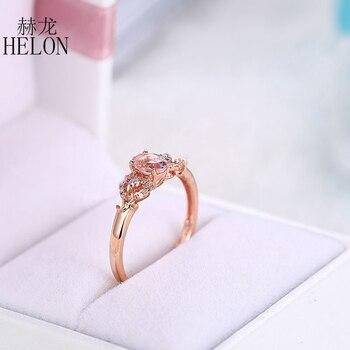 HELON Solid 14k Rose Gold Gemstone Prong Oval Shape 6X4mm Morganite Natural Diamond Beauty Bride Engagement Wedding Fine Ring 6