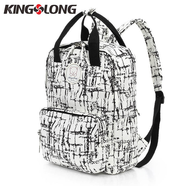 86ff03e34d46 KINGSLONG Women Cute For Teenage Girls Cotton White Black Backpacks School  Bag 14 Inch Laptop Mochila rucksack KLB1310669-65