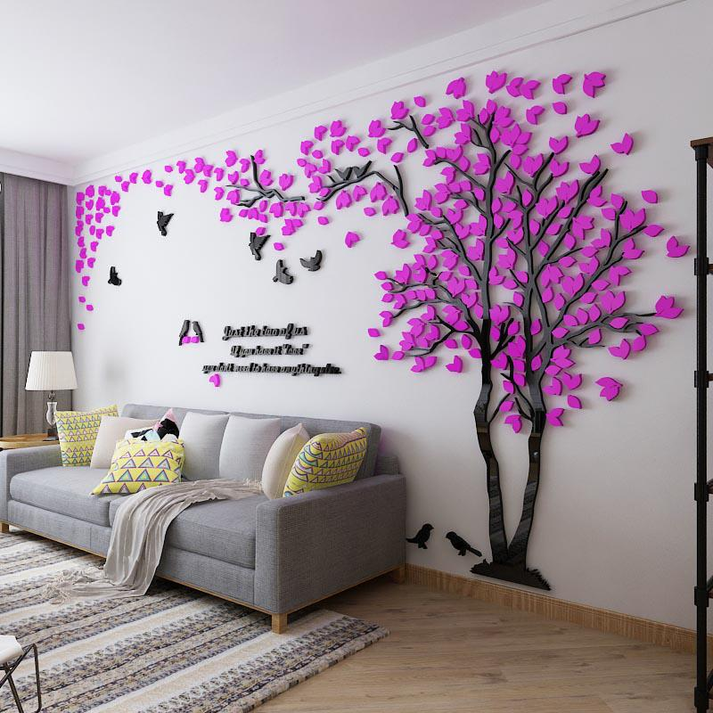 Large Size Couple Tree Mirror Wall Stickers TV Backdrop DIY 3D Acrylic  Autocollant Mural Home Decor Living Room Wall Decals In Wall Stickers From  Home ... Part 92