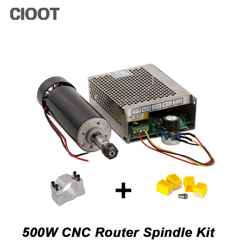 CNC Router Spindle Kit 500W Air Cooled Spindle Motor + Power Supply + 52mm Clamp + 3pcs ER11 Collet Chuck For Milling Machine