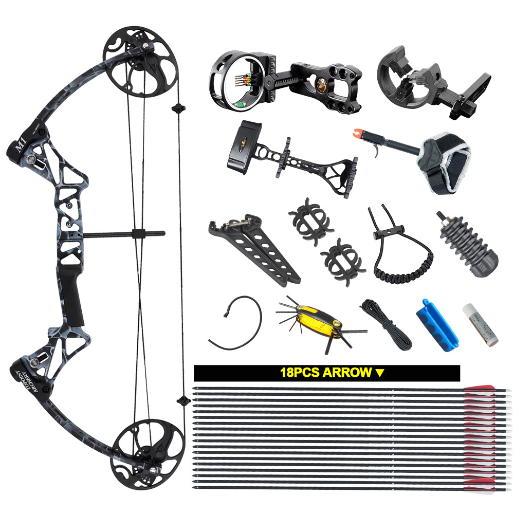 Topoint Archery Compound Bow package,M1,19-30 draw length,19-70lbs draw weight,320fps IBO цена