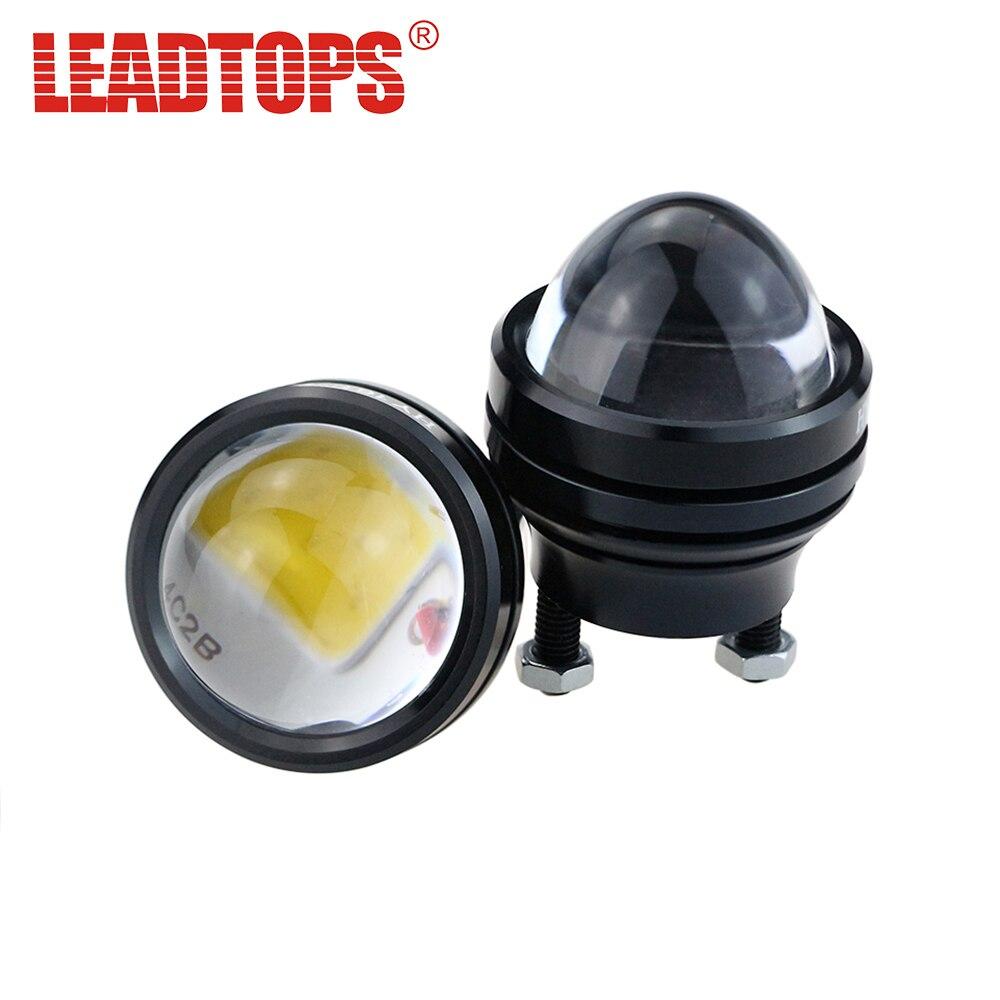 цена на LEADTOPS Super Bright Car Light Aluminum LED devil eyes + angel eyes lens with Lens DRL Fog Lamps Waterproof DC12V Dj
