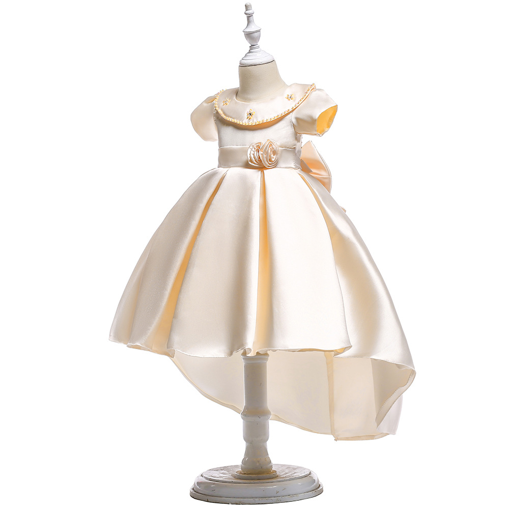 A Line Knee Length Flower Girls Dresses Bow With Little Flower Kids Pagent Gowns Children's Day show dress