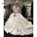 Роскошный Бальное платье Свадебное Платье 2017 Аппликации Beadings V шеи свадебные Платья Цветы Свадебное Платье robe de mariage платье de noiva