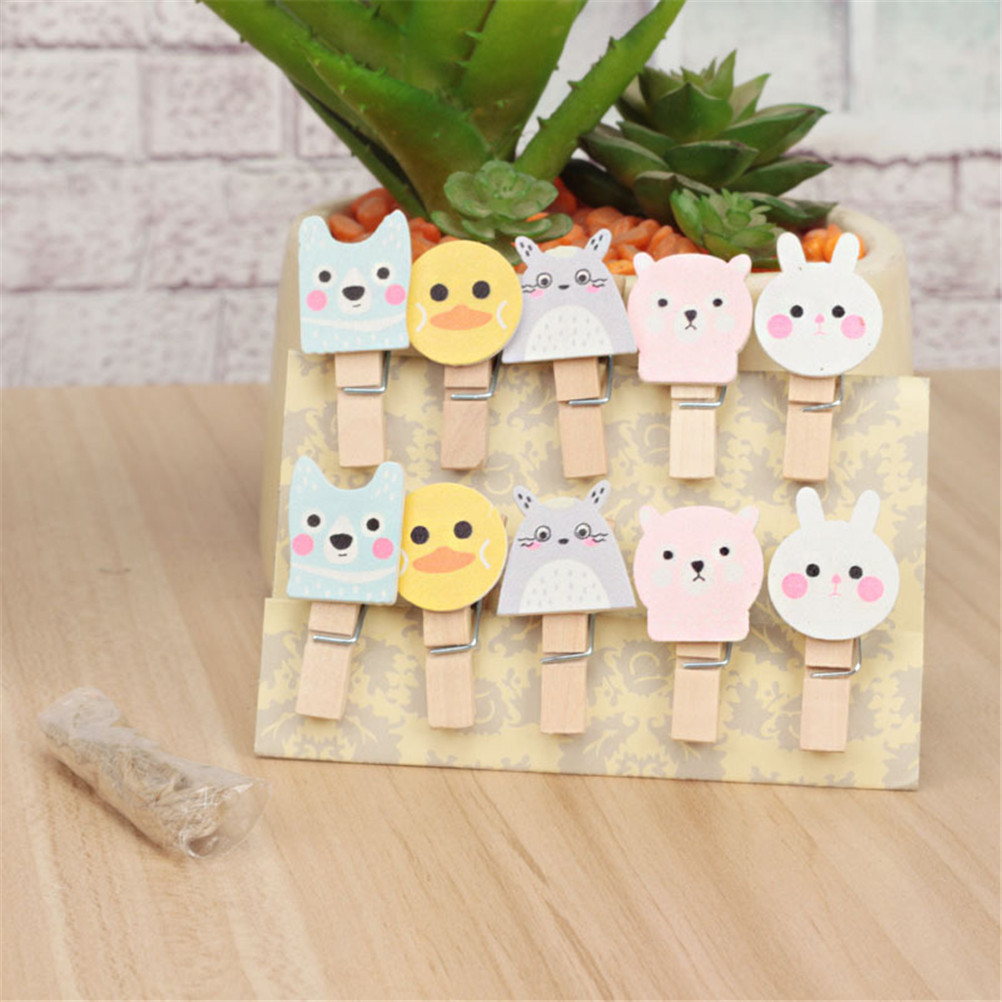 Obedient Peerless New Fashion 10 Pcs/pack Animal Rabbit Duck Dog Style Wooden Clip Photo Paper Craft Diy Clips With Hemp Rope Fashionable And Attractive Packages Office & School Supplies