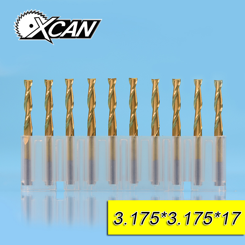 XCAN 10pcs 3.175mm tungsten steel flat end mill CNC milling cutter for wood/plastic drill 3.175 shank 8/12/15/17/20/22mm 10pcs box 1 8 inch 0 8 3 17mm pcb engraving cutter rotary cnc end mill milling cuter drill bits