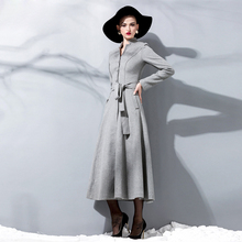 2016 Autumn and Winter New Fashion Women's Woolen Outwear Single Breasted Stand Collar Long Wool Coat Solid Color Slim Overcoat