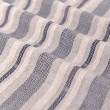 Dark Grey Blue Woven Striped Cotton and LinenChildrens fabric