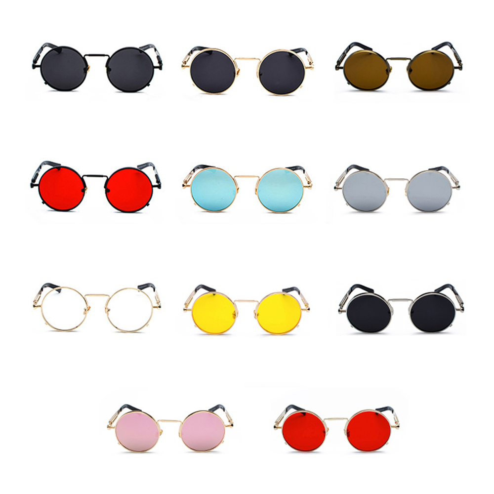 Peekaboo clear red sunglasses men steampunk 2019 metal frame retro vintage round sun glasses for women black uv400 5
