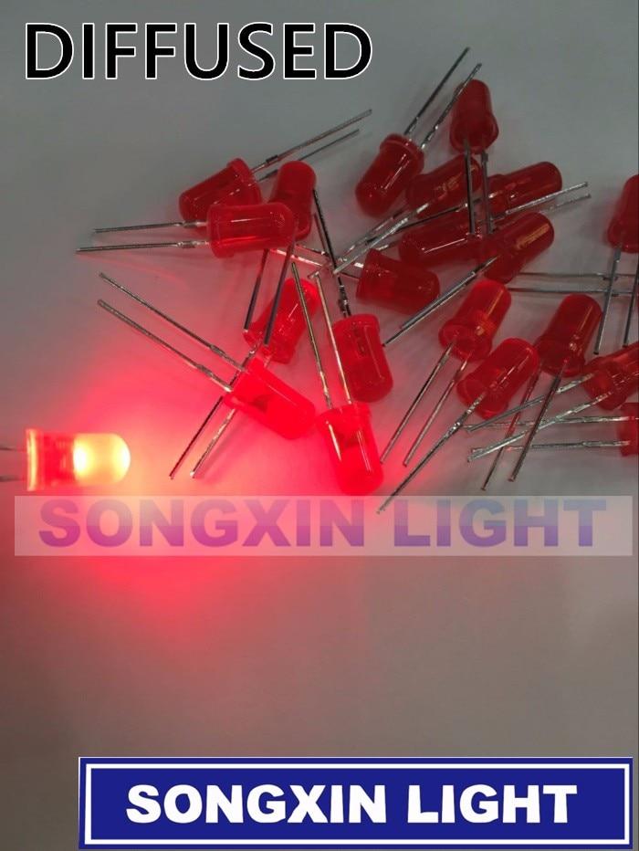 1000 шт./лот 5 мм красный светодиод круглый рассеянный красный цвет лампа F5 DIP хайлайтер Новинка оптовая продажа электронный