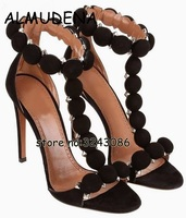 T strap Studs Open Toe Suede Woman High Heels Rome Style Ankle Wrap Stiletto Party Dress Pumps Pink Black White Sandals