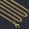 3mm de largura pequena 18 K Ouro/platina banhado a Prata aço inoxidável colares de cadeia para mulheres dos homens por atacado 12 pçs/lote