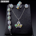 ZHHIRY Natural Fire Opal Gemstone Jewelry Sets Genuine Stone Solid 925 Sterling Silver Precious Stone Woman Prom
