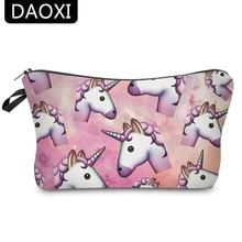 Bolsas de cosméticos de mujer DAOXI unicornio de impresión en 3D para almacenamiento de viaje