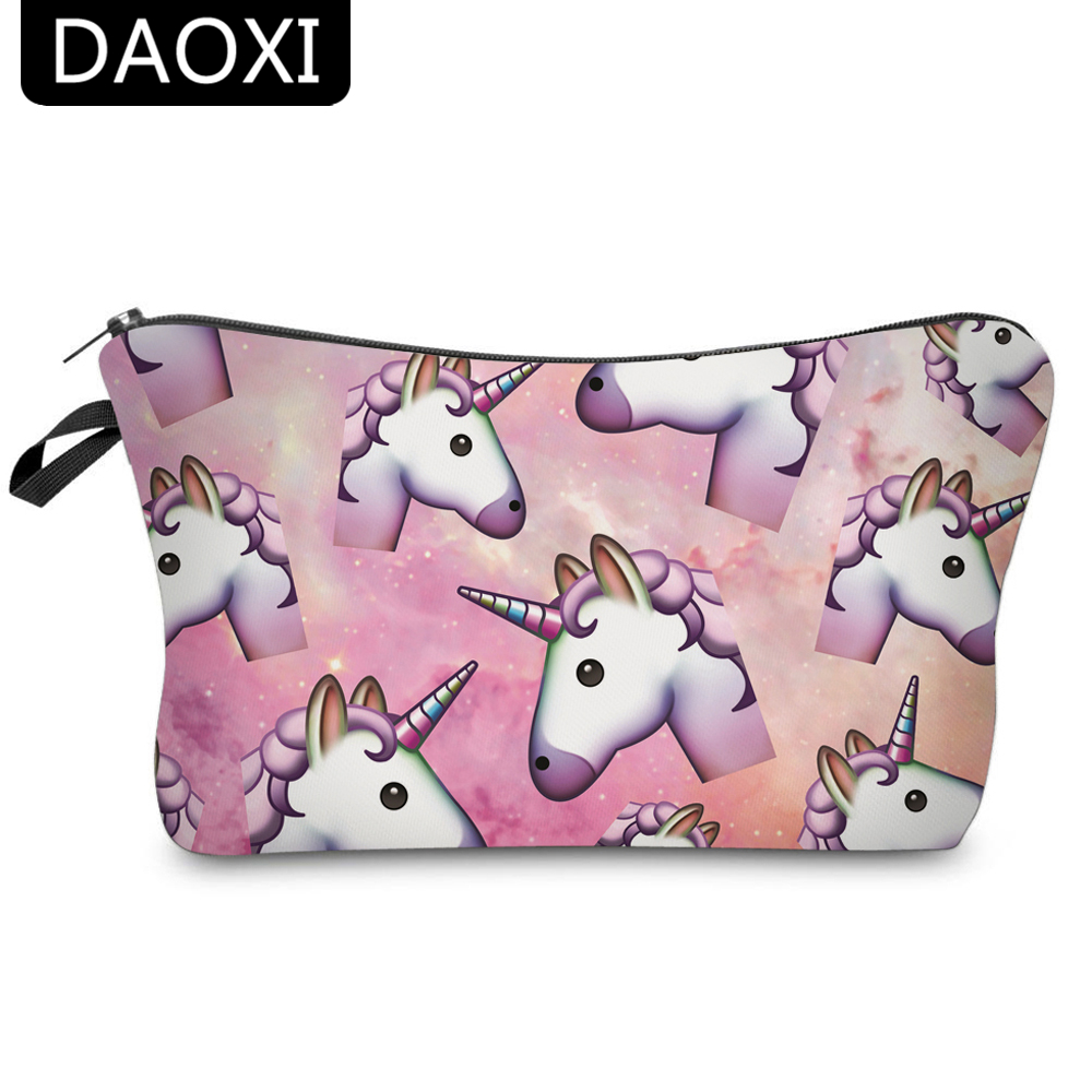 DAOXI Women Cosmetic Bags 3D Printing Unicorn for Traveling Storage Necessaries