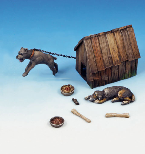 Assembly Scale 1/35 Dog And Kennel  Animal Figure Historical  Resin Model  Unpainted