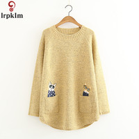 Japanese Style Cartoon Pullover Sweater Autumn New Fashion Woman Knit Sweaters O Neck Long Sleeved Pocket Cat Sweater CH750