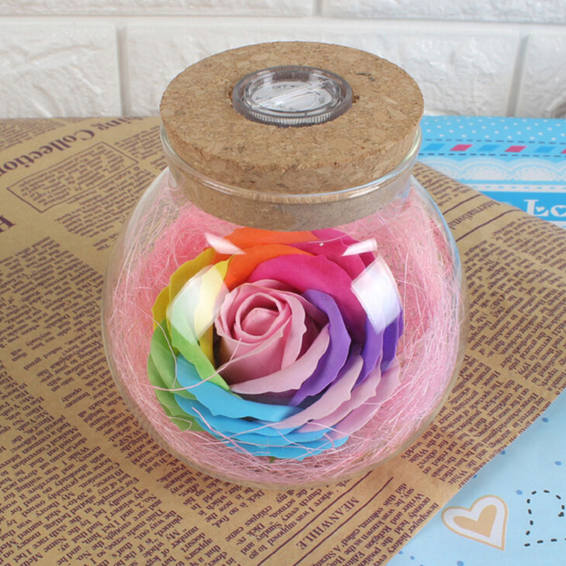 1Pcs Creative Valentine's Day Flash Wishing Never Dying Rose Light Bottle Colorful Soap Flower Remote Night Light Mom Lady Girls 1