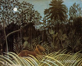 oil Painting modern Jungle with Lion Henri Rousseau Hand painted High quality