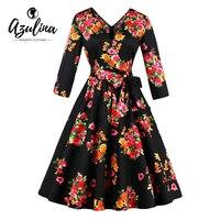 AZULINA 50s 60s Floral Print Women Casual Flowers Dress Half Sleeve Vintage Female Vestido Robe Femme