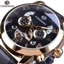 Relojes de hombre de cuero genuino Forsining con bisel dorado Tourbillion año mes, relojes de marca de lujo con cuerda automática