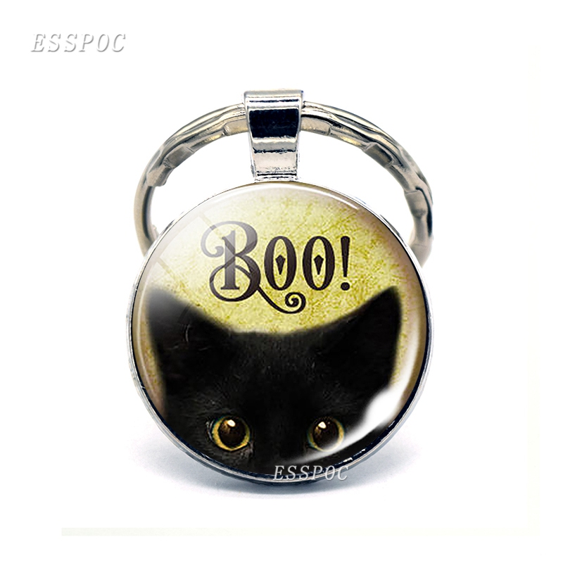 Halloween kitten Boo Black Cat Glass Dome Keychain Pendant Trick or Treat Jewelry Cute Kitten Key Chain Ring Fob Birthday Gift