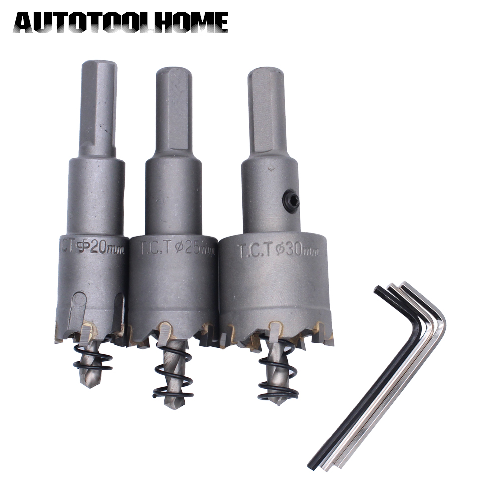 3PC/Set TCT Hole Saw 20mm 25mm 30mm Carbide Cutter Tip Tungsten steel Metal Drilling Drill Bits Kit