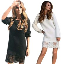 2017 New Winter Autumn Women Long Sleeve Warm Lace Knitted Sweater Dresses Black White Sexy Slim Bodycon Dress Party Vestidos Yo