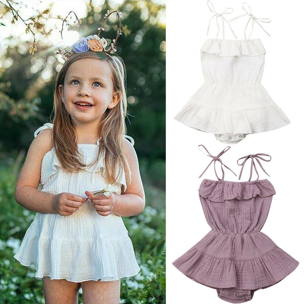 Cute Newborn Baby Girl Sleeveless Solid Color Strap Tutu Skirted   Romper   Jumpsuit Outfits Summer Clothes
