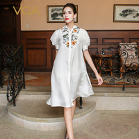 VOA 2018 Autumn Puff Sleeve White Silk Jacquard Shirt Chinese Style Embroidered Long Blouse Plus Size Loose Women Tops BLA00301