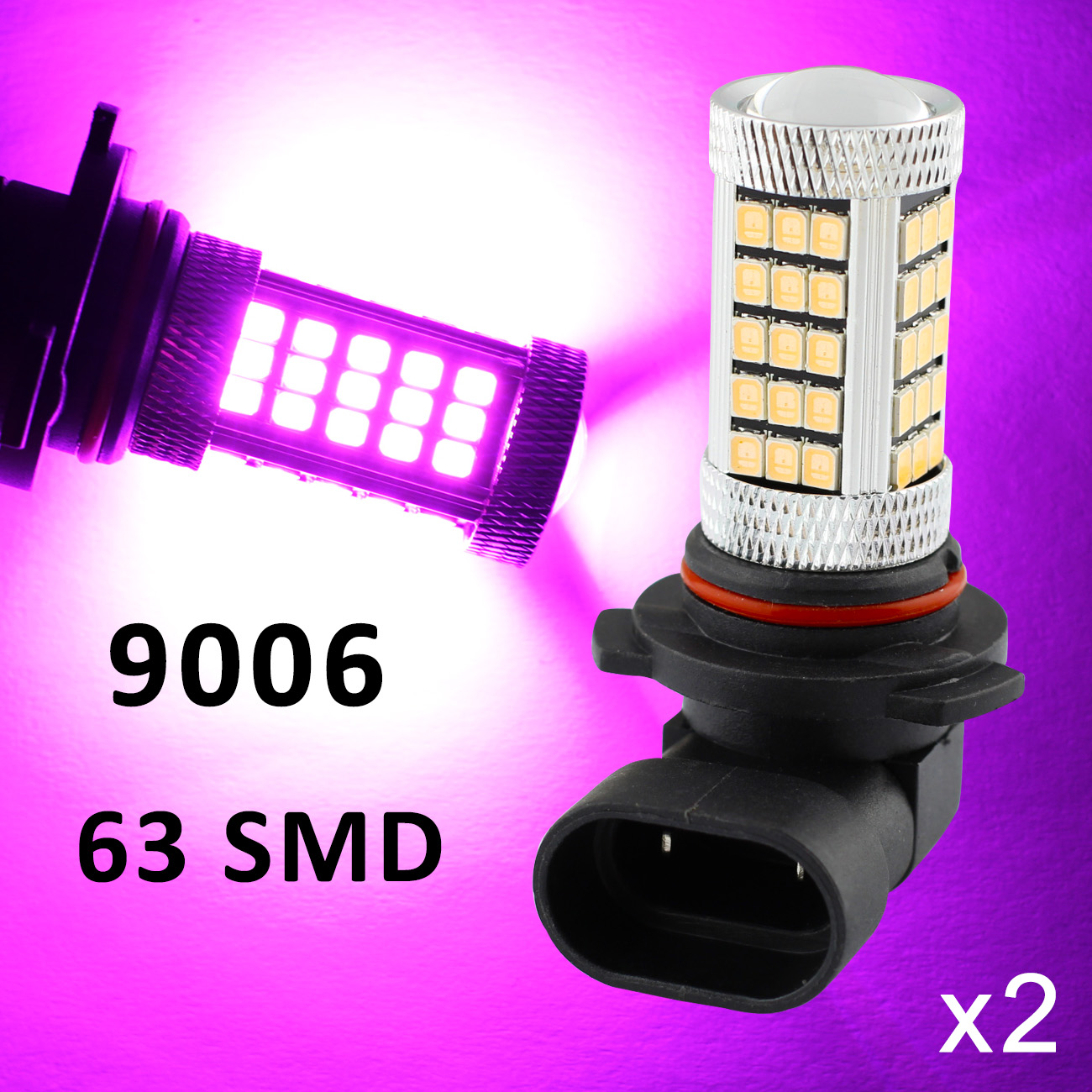 2X Auto LED Foglight Lamp Part 9006 9006HP 9006XS 9012 HB4 Bulbs Lens Fog Driving Light