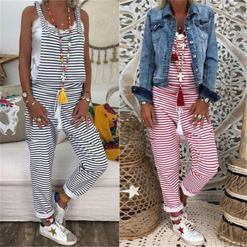Women Jumpsuit Sleeveless Backless Dungarees Strap Pant Stylish Loose Jumpsuit Elegant Woman Plus Size Baggy Striped Overalls