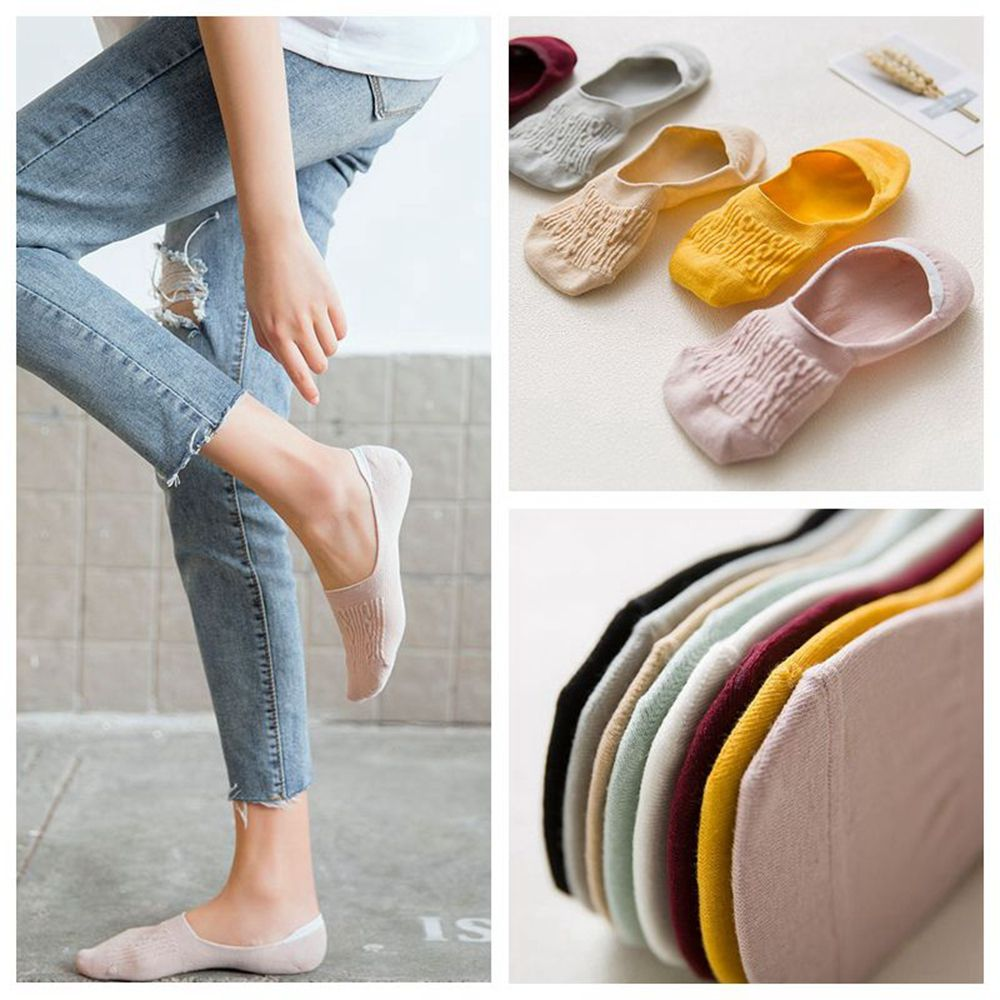 1Pair Candy Color Invisible Non-slip Low Cut Socks Fashion Women Casual Cotton Breathable Ankle Boat Socks Apparel Accessories