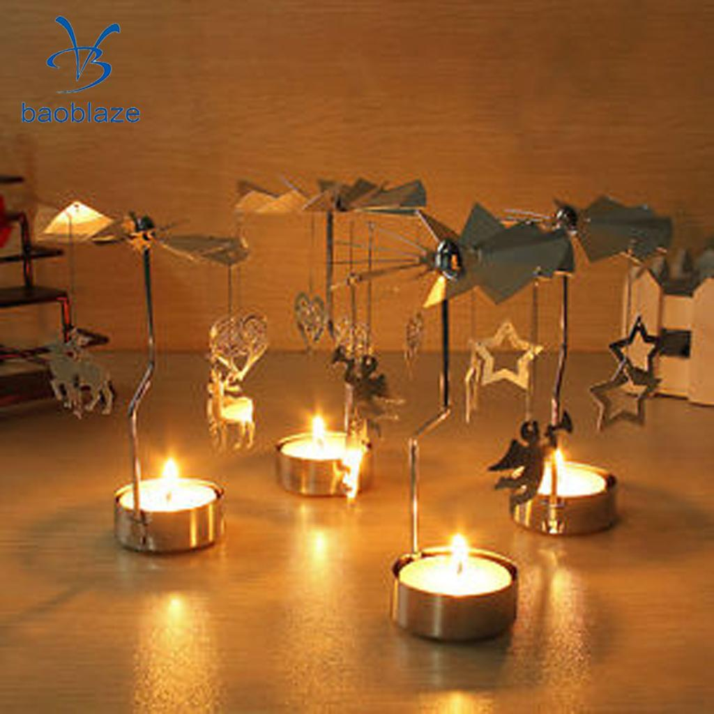 Baoblaze Good Quality Iron Rotary Spinning Carousel Deer Tea Light Candle Holder Table Decoration for Home Bedroom Supply Silver