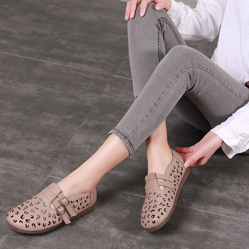 AFW Women Genuine Leather Sandals Hollow Out Shoes Summer Low Heel Casual Leather Sandals Gray Shoes Retro Handmade Flat Sandals classic leather sandals classic leather sandals women sandals summer sandals